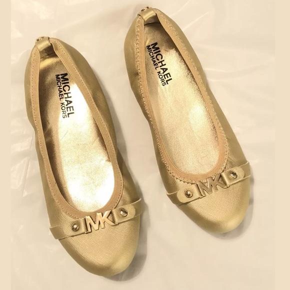 3ed213a07d56 Michael Kors Shoes   Gold Rover Heidi Flats Sz 1   Poshmark